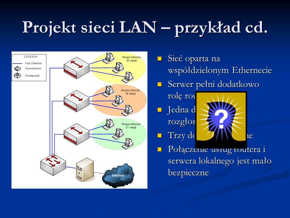 Projekt sieci LAN – przykład cd. Sieć oparta na współdzielonym Ethernecie Sieć oparta na współdzielonym Ethernecie Serwer pełni dodatkowo rolę routera