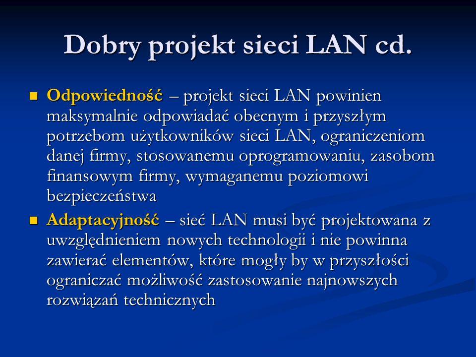 Dobry projekt sieci LAN cd. Odpowiedność – projekt sieci LAN powinien maksymalnie odpowiadać obecnym i przyszłym potrzebom użytkowników sieci LAN, ogr