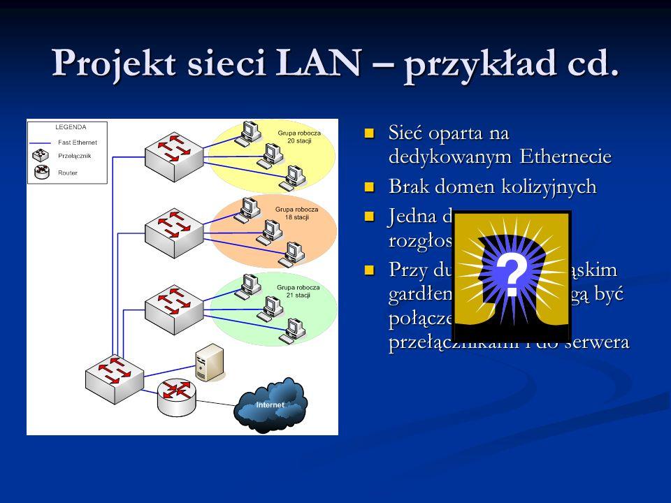 Projekt sieci LAN – przykład cd. Sieć oparta na dedykowanym Ethernecie Sieć oparta na dedykowanym Ethernecie Brak domen kolizyjnych Brak domen kolizyj