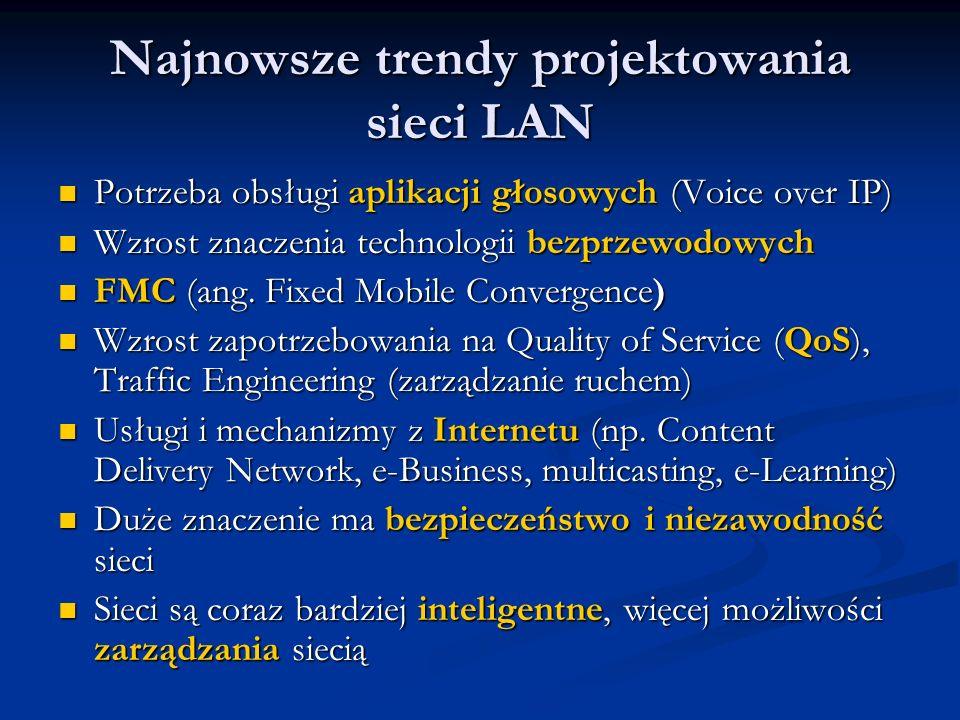 Najnowsze trendy projektowania sieci LAN Potrzeba obsługi aplikacji głosowych (Voice over IP) Potrzeba obsługi aplikacji głosowych (Voice over IP) Wzr