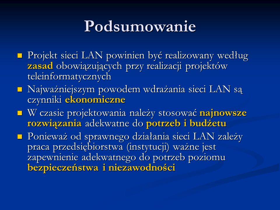 Podsumowanie Projekt sieci LAN powinien być realizowany według zasad obowiązujących przy realizacji projektów teleinformatycznych Projekt sieci LAN po