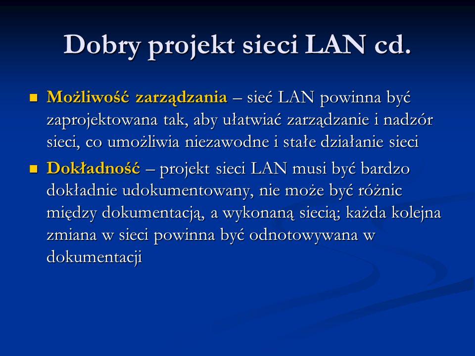 Dobry projekt sieci LAN cd. Możliwość zarządzania – sieć LAN powinna być zaprojektowana tak, aby ułatwiać zarządzanie i nadzór sieci, co umożliwia nie