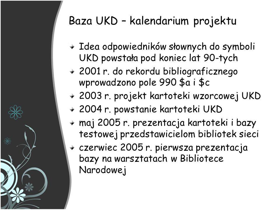 Baza UKD – kalendarium projektu Idea odpowiedników słownych do symboli UKD powstała pod koniec lat 90-tych 2001 r. do rekordu bibliograficznego wprowa