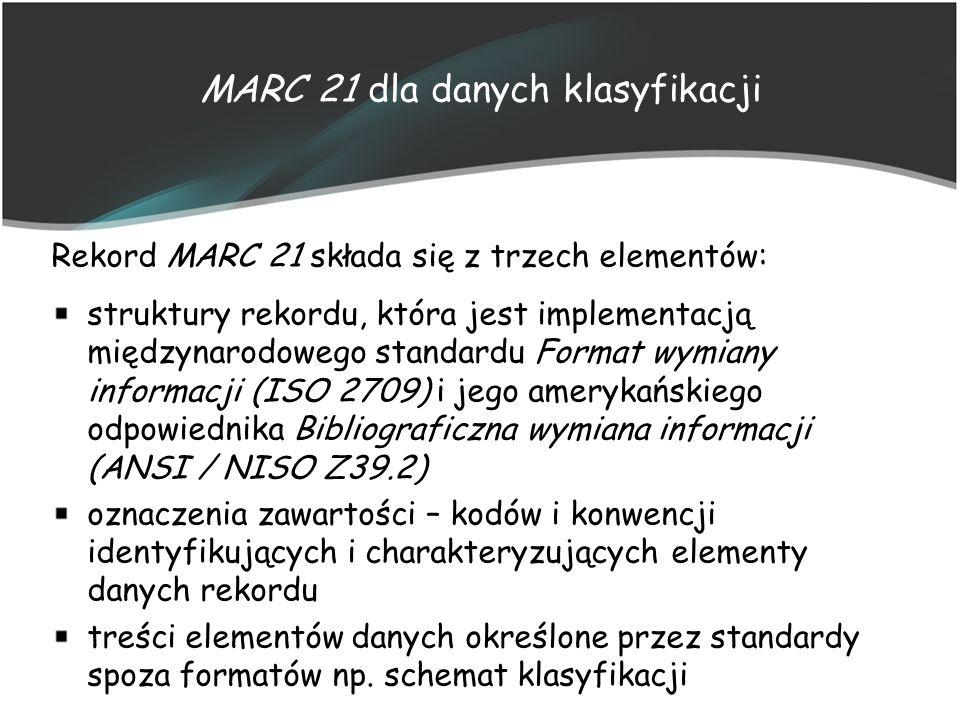 MARC 21 dla danych klasyfikacji Rekord MARC 21 składa się z trzech elementów: struktury rekordu, która jest implementacją międzynarodowego standardu F