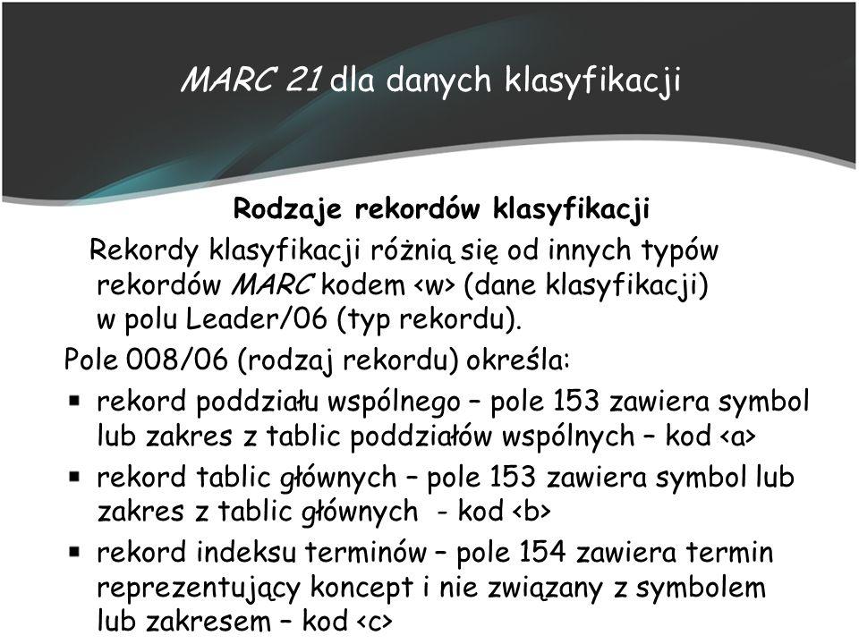 MARC 21 dla danych klasyfikacji Rodzaje rekordów klasyfikacji Rekordy klasyfikacji różnią się od innych typów rekordów MARC kodem (dane klasyfikacji)