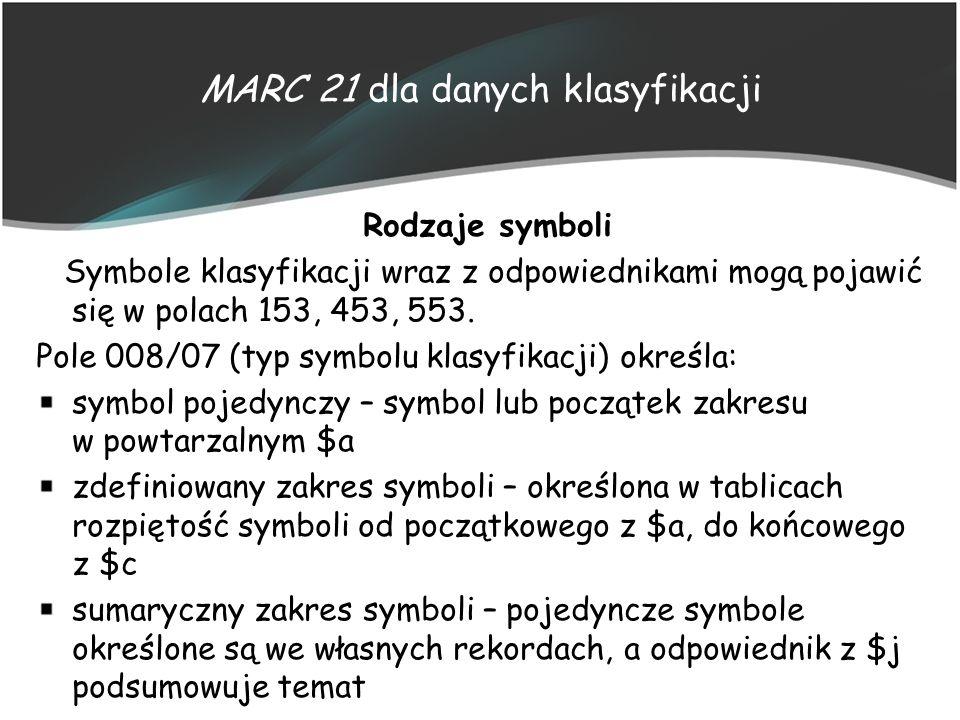 MARC 21 dla danych klasyfikacji Rodzaje symboli Symbole klasyfikacji wraz z odpowiednikami mogą pojawić się w polach 153, 453, 553. Pole 008/07 (typ s