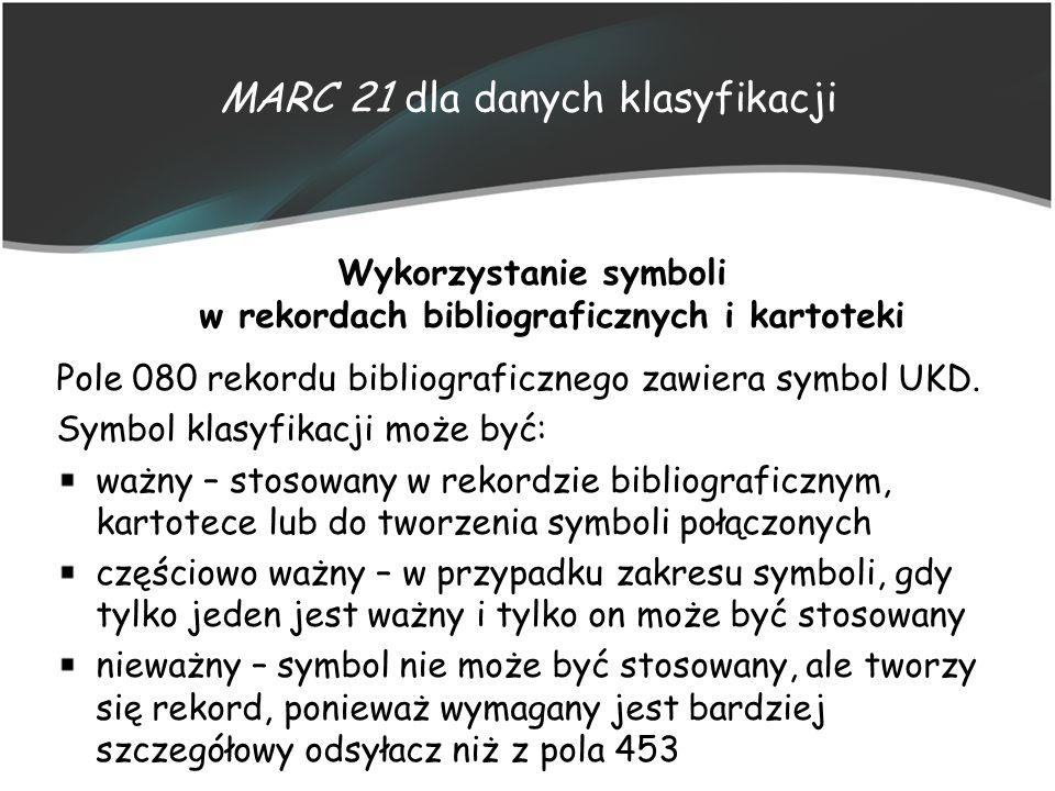 MARC 21 dla danych klasyfikacji Wykorzystanie symboli w rekordach bibliograficznych i kartoteki Pole 080 rekordu bibliograficznego zawiera symbol UKD.