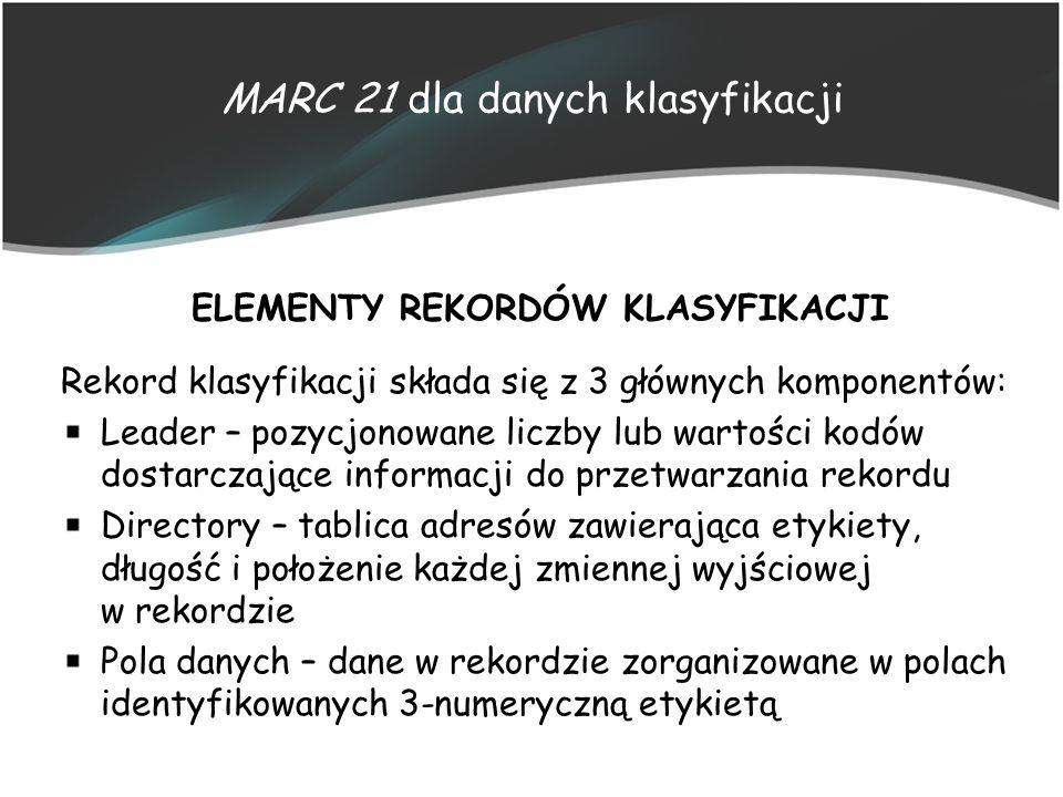 MARC 21 dla danych klasyfikacji ELEMENTY REKORDÓW KLASYFIKACJI Rekord klasyfikacji składa się z 3 głównych komponentów: Leader – pozycjonowane liczby