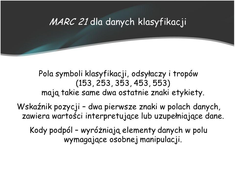 MARC 21 dla danych klasyfikacji Pola symboli klasyfikacji, odsyłaczy i tropów (153, 253, 353, 453, 553) mają takie same dwa ostatnie znaki etykiety. W