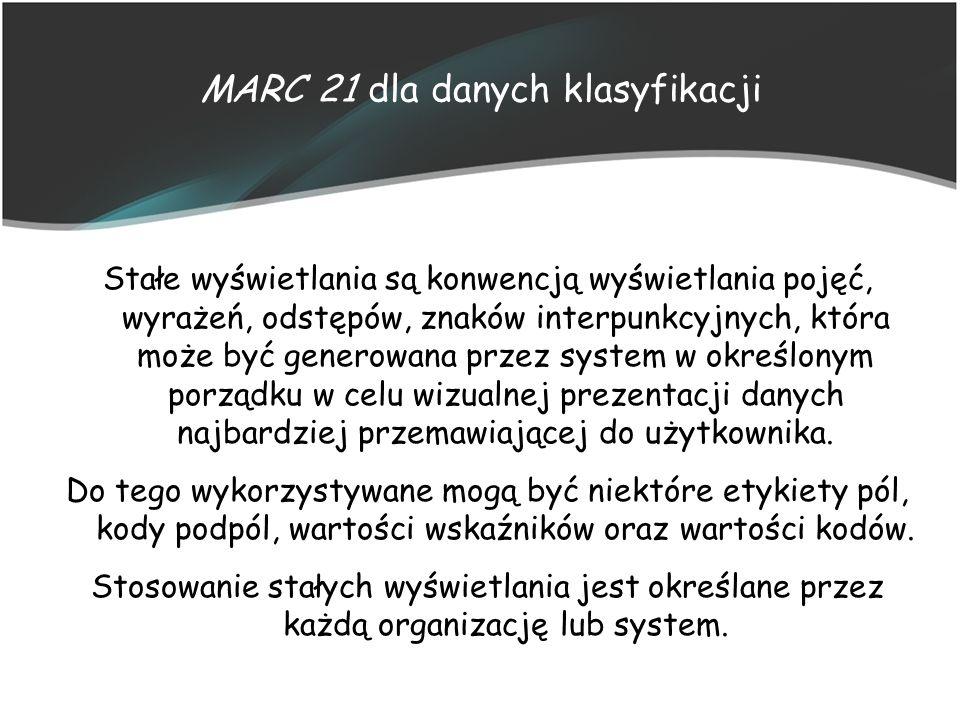 MARC 21 dla danych klasyfikacji Stałe wyświetlania są konwencją wyświetlania pojęć, wyrażeń, odstępów, znaków interpunkcyjnych, która może być generow