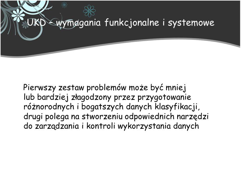 UKD – implementacja z zapisem prostym Służy systematycznemu przeglądaniu Tekst zapisu składa się z cyfr i znaczącej interpunkcji po co trzeciej cyfrze Symbole są automatycznie prawidłowo złożone przez system komputerowy Zapis symboli wstępnie połączonych może prowadzić do zakłócenia porządku systematycznego Zapis symboli wstępnie połączonych umożliwia wyszukiwanie tylko po pierwszym elemencie notacji Wyszukiwanie wspierają odpowiedniki słowne