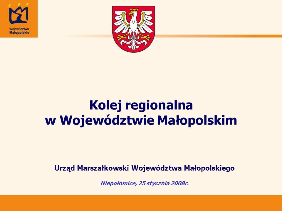 Kolej regionalna w Województwie Małopolskim Urząd Marszałkowski Województwa Małopolskiego Niepołomice, 25 stycznia 2008r.