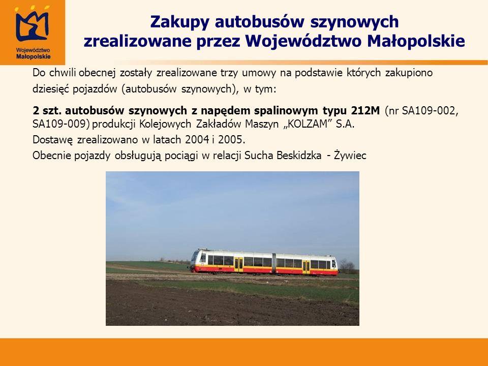 Zakupy autobusów szynowych zrealizowane przez Województwo Małopolskie Do chwili obecnej zostały zrealizowane trzy umowy na podstawie których zakupiono
