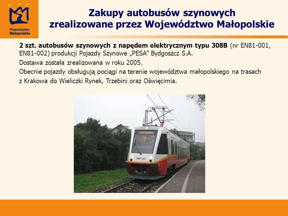 Zakupy autobusów szynowych zrealizowane przez Województwo Małopolskie 2 szt. autobusów szynowych z napędem elektrycznym typu 308B (nr EN81-001, EN81-0