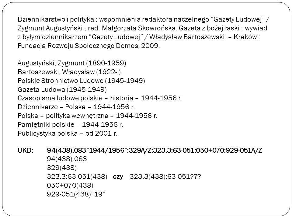Dziennikarstwo i polityka : wspomnienia redaktora naczelnego Gazety Ludowej / Zygmunt Augustyński ; red. Małgorzata Skowrońska. Gazeta z bożej łaski :