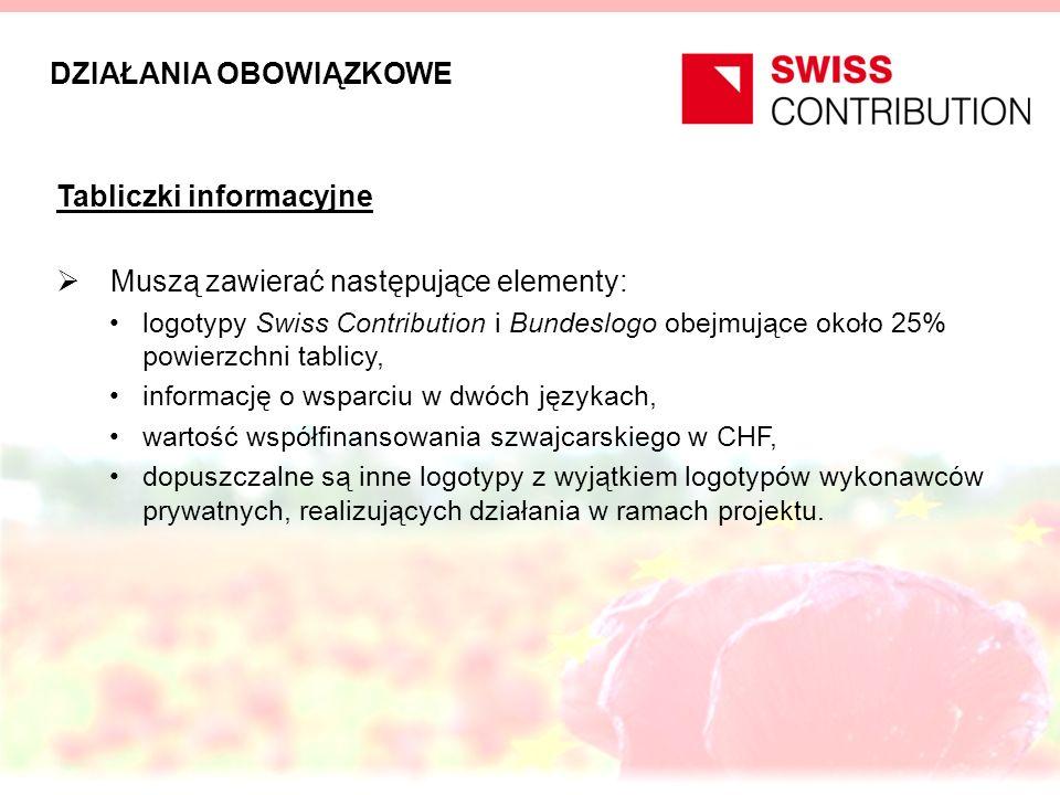DZIAŁANIA OBOWIĄZKOWE Tabliczki informacyjne Muszą zawierać następujące elementy: logotypy Swiss Contribution i Bundeslogo obejmujące około 25% powier