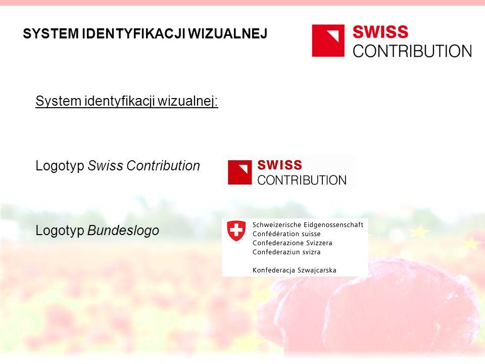 SYSTEM IDENTYFIKACJI WIZUALNEJ System identyfikacji wizualnej: Logotyp Swiss Contribution Logotyp Bundeslogo
