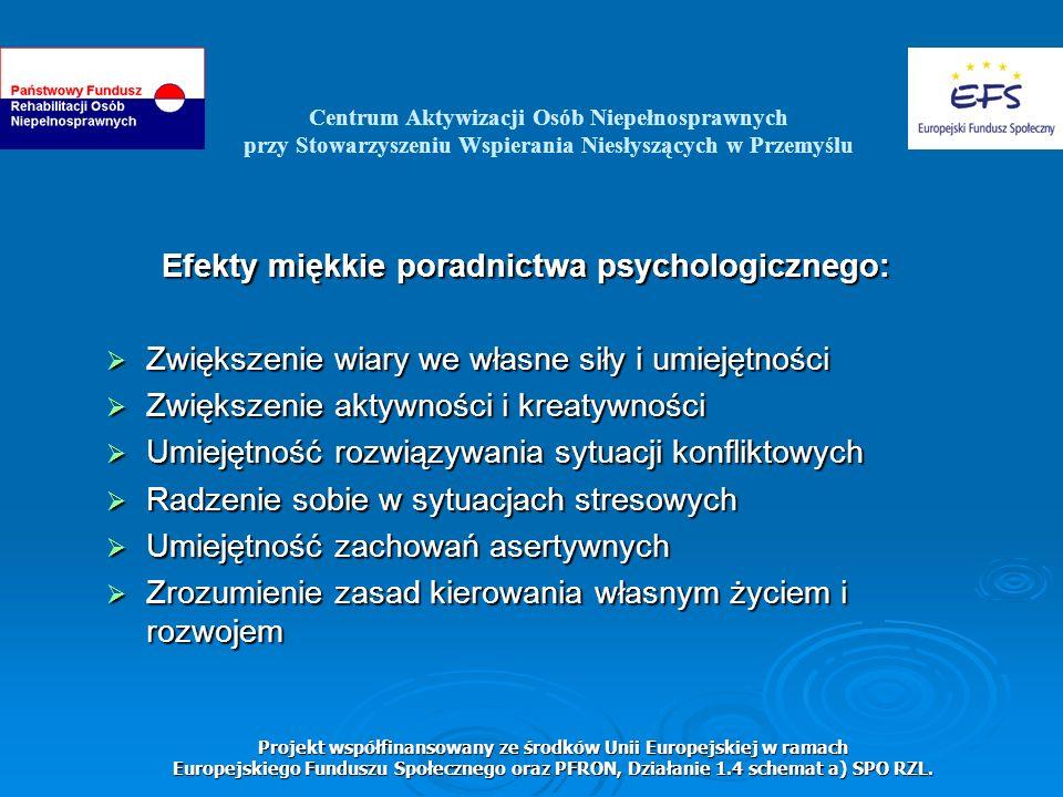 Centrum Aktywizacji Osób Niepełnosprawnych przy Stowarzyszeniu Wspierania Niesłyszących w Przemyślu Projekt współfinansowany ze środków Unii Europejskiej w ramach Europejskiego Funduszu Społecznego oraz PFRON, Działanie 1.4 schemat a) SPO RZL.