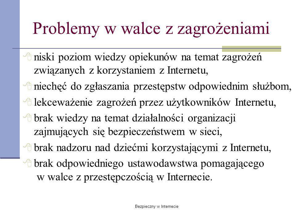 Bezpieczny w Internecie Problemy w walce z zagrożeniami niski poziom wiedzy opiekunów na temat zagrożeń związanych z korzystaniem z Internetu, niechęć