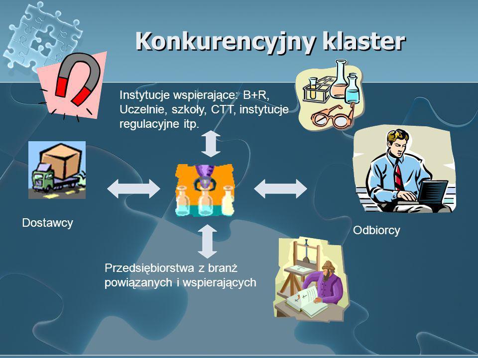 Konkurencyjny klaster Przedsiębiorstwa z branż powiązanych i wspierających Instytucje wspierające: B+R, Uczelnie, szkoły, CTT, instytucje regulacyjne