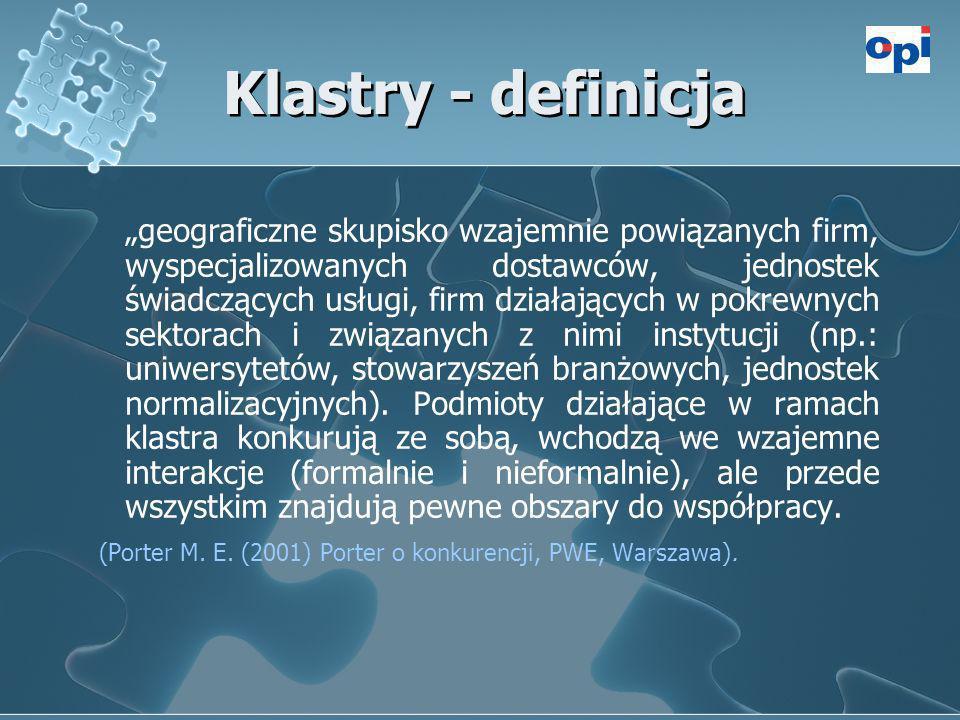 Klastry - definicja geograficzne skupisko wzajemnie powiązanych firm, wyspecjalizowanych dostawców, jednostek świadczących usługi, firm działających w