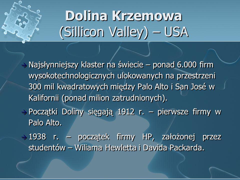 Dolina Krzemowa (Sillicon Valley) – USA Najsłynniejszy klaster na świecie – ponad 6.000 firm wysokotechnologicznych ulokowanych na przestrzeni 300 mil