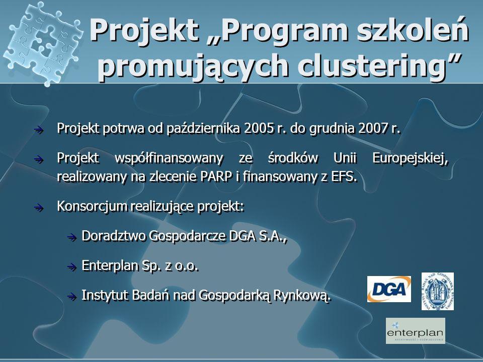 Projekt Program szkoleń promujących clustering Projekt potrwa od października 2005 r. do grudnia 2007 r. Projekt współfinansowany ze środków Unii Euro