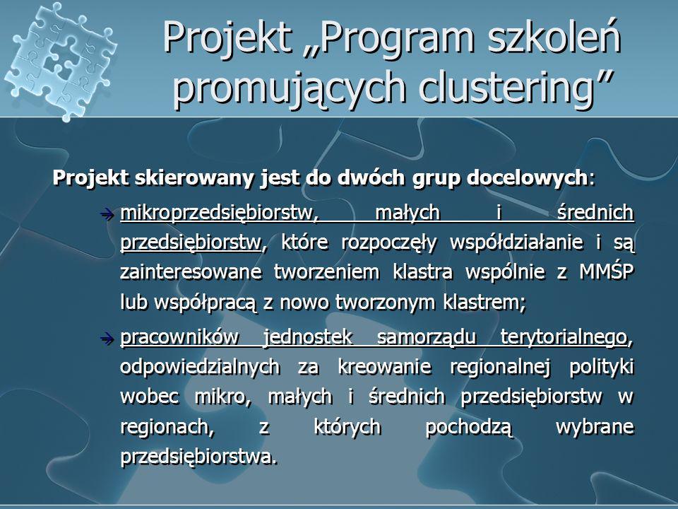Projekt Program szkoleń promujących clustering Projekt skierowany jest do dwóch grup docelowych: mikroprzedsiębiorstw, małych i średnich przedsiębiors