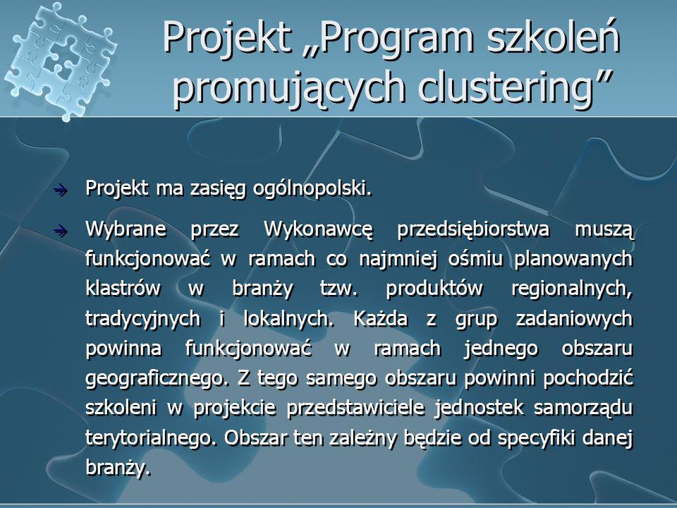 Projekt Program szkoleń promujących clustering Projekt ma zasięg ogólnopolski. Wybrane przez Wykonawcę przedsiębiorstwa muszą funkcjonować w ramach co