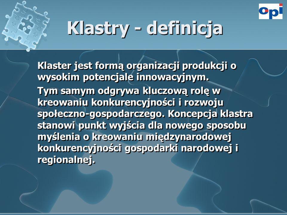 Klastry - definicja Klaster jest formą organizacji produkcji o wysokim potencjale innowacyjnym. Tym samym odgrywa kluczową rolę w kreowaniu konkurency