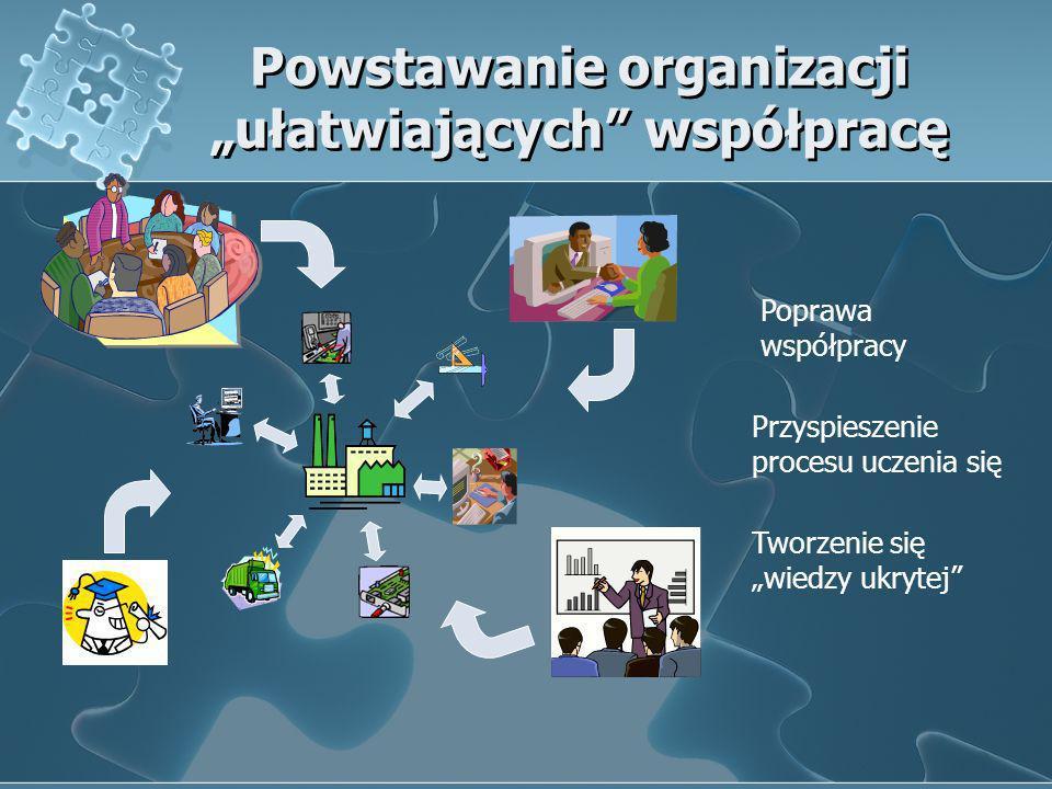 Powstawanie organizacji ułatwiających współpracę Poprawa współpracy Przyspieszenie procesu uczenia się Tworzenie się wiedzy ukrytej