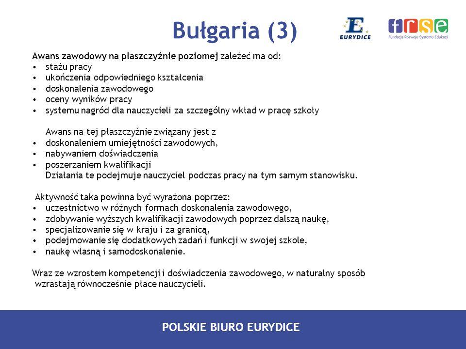 POLSKIE BIURO EURYDICE Bułgaria (3) Awans zawodowy na płaszczyźnie poziomej zależeć ma od: stażu pracy ukończenia odpowiedniego kształcenia doskonalen
