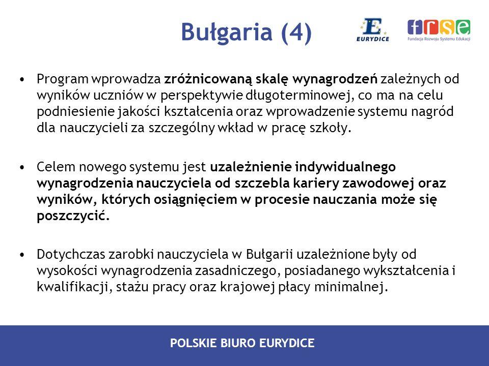 POLSKIE BIURO EURYDICE Bułgaria (4) Program wprowadza zróżnicowaną skalę wynagrodzeń zależnych od wyników uczniów w perspektywie długoterminowej, co m