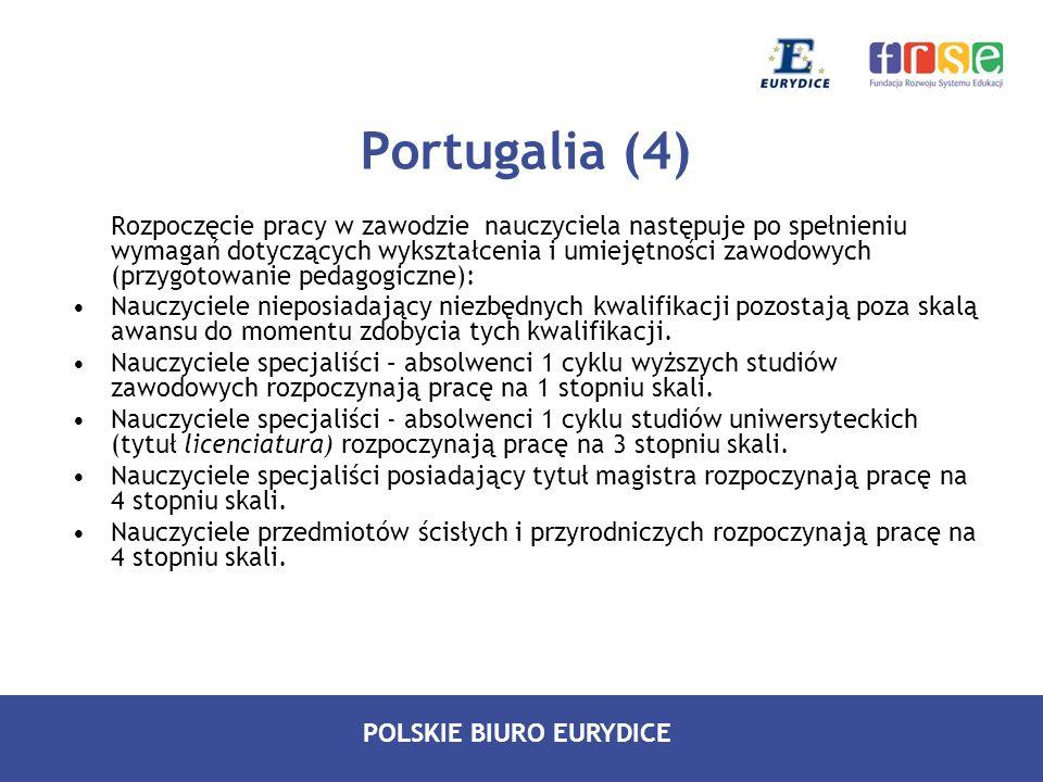 POLSKIE BIURO EURYDICE Portugalia (4) Rozpoczęcie pracy w zawodzie nauczyciela następuje po spełnieniu wymagań dotyczących wykształcenia i umiejętnośc