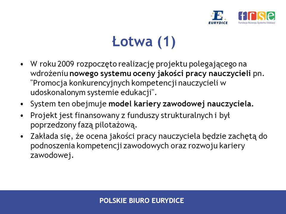 POLSKIE BIURO EURYDICE Łotwa (1) W roku 2009 rozpoczęto realizację projektu polegającego na wdrożeniu nowego systemu oceny jakości pracy nauczycieli p