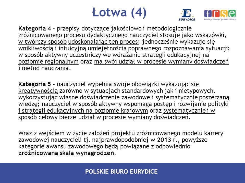 POLSKIE BIURO EURYDICE Łotwa (4) Kategoria 4 – przepisy dotyczące jakościowo i metodologicznie zróżnicowanego procesu dydaktycznego nauczyciel stosuje