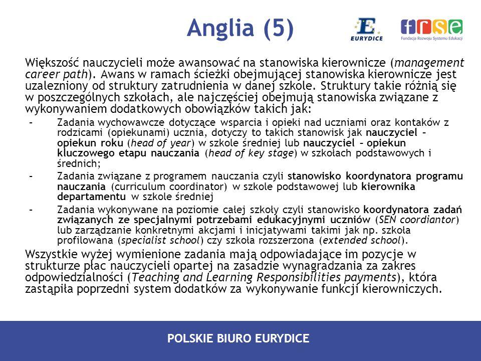 POLSKIE BIURO EURYDICE Anglia (5) Większość nauczycieli może awansować na stanowiska kierownicze (management career path). Awans w ramach ścieżki obej