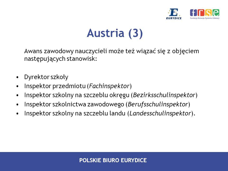 POLSKIE BIURO EURYDICE Austria (3) Awans zawodowy nauczycieli może też wiązać się z objęciem następujących stanowisk: Dyrektor szkoły Inspektor przedm