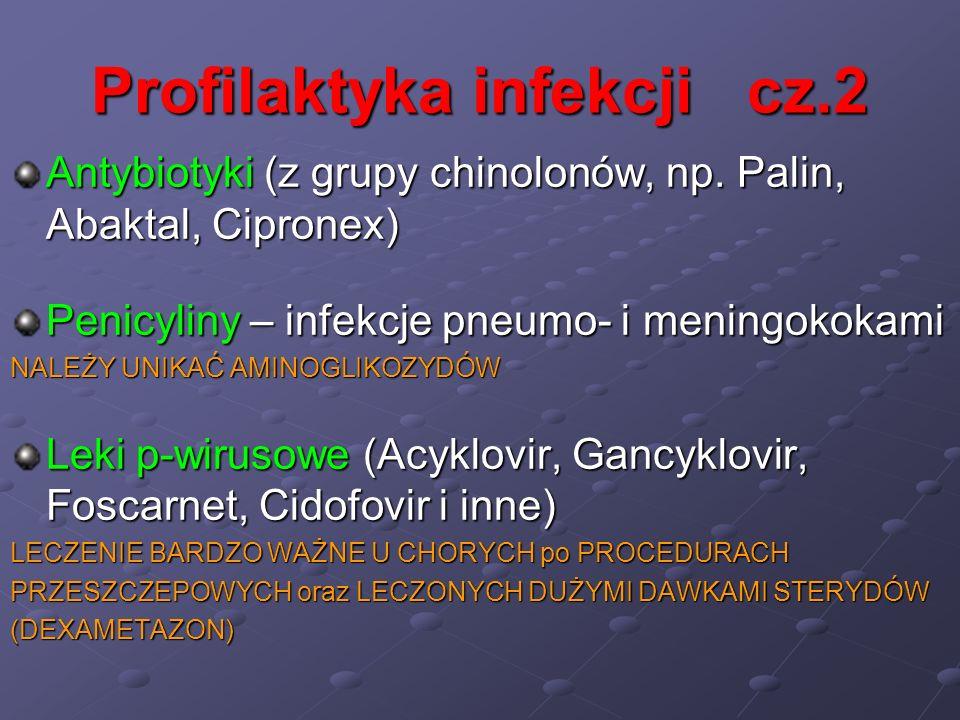Profilaktyka infekcji cz.2 Antybiotyki (z grupy chinolonów, np. Palin, Abaktal, Cipronex) Penicyliny – infekcje pneumo- i meningokokami NALEŻY UNIKAĆ