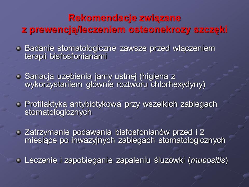 Rekomendacje związane z prewencją/leczeniem osteonekrozy szczęki Badanie stomatologiczne zawsze przed włączeniem terapii bisfosfonianami Sanacja uzębi