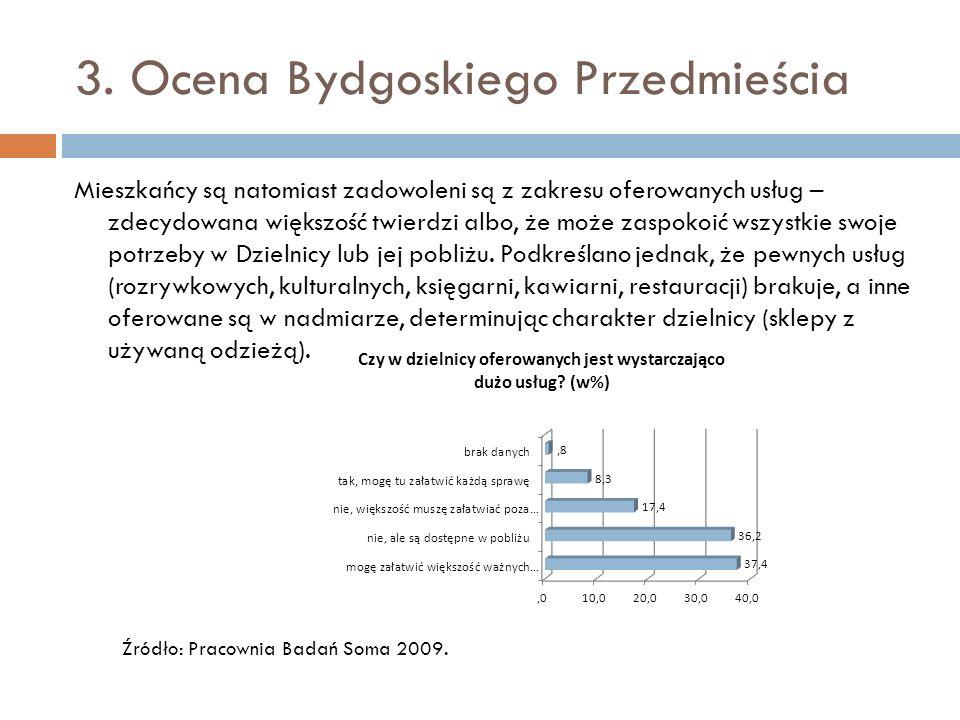 3. Ocena Bydgoskiego Przedmieścia Mieszkańcy są natomiast zadowoleni są z zakresu oferowanych usług – zdecydowana większość twierdzi albo, że może zas