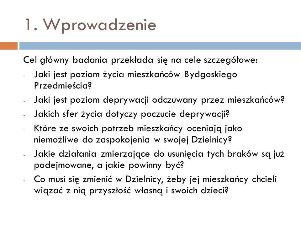 1. Wprowadzenie Cel główny badania przekłada się na cele szczegółowe: - Jaki jest poziom życia mieszkańców Bydgoskiego Przedmieścia? - Jaki jest pozio