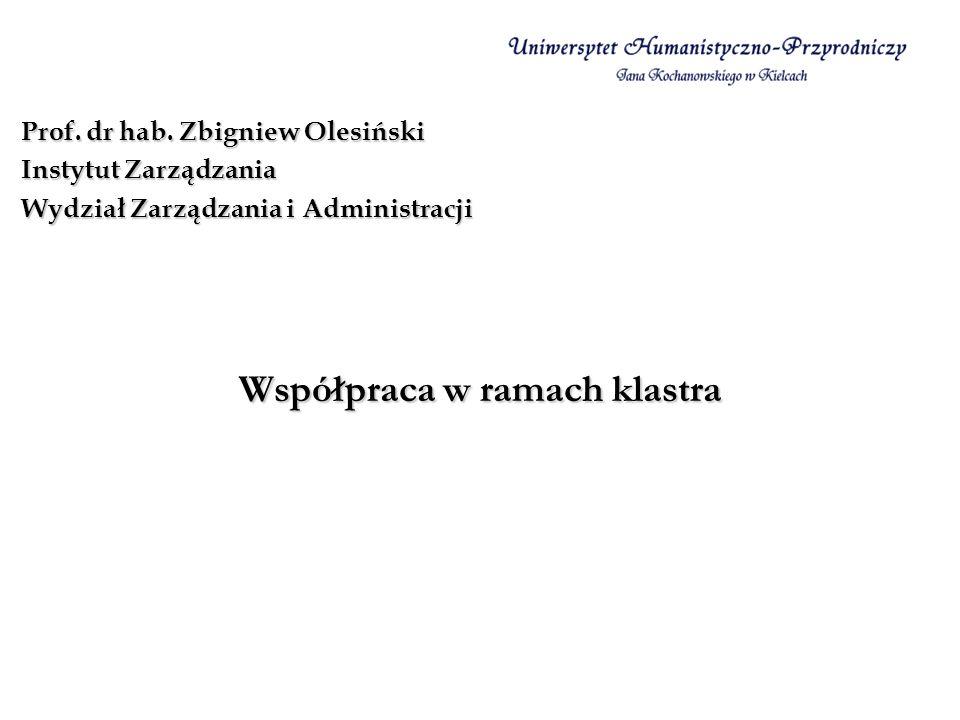Współpraca w ramach klastra Prof. dr hab. Zbigniew Olesiński Instytut Zarządzania Wydział Zarządzania i Administracji