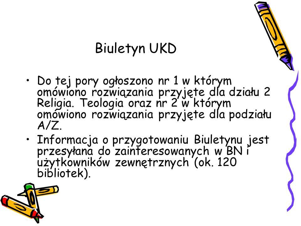 Biuletyn UKD Do tej pory ogłoszono nr 1 w którym omówiono rozwiązania przyjęte dla działu 2 Religia. Teologia oraz nr 2 w którym omówiono rozwiązania