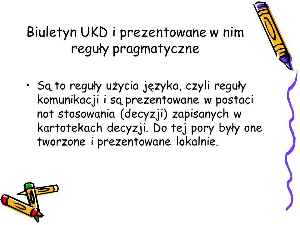 Biuletyn UKD i prezentowane w nim reguły pragmatyczne Są to reguły użycia języka, czyli reguły komunikacji i są prezentowane w postaci not stosowania