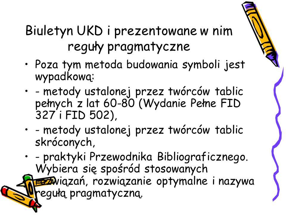 Biuletyn UKD i prezentowane w nim reguły pragmatyczne Poza tym metoda budowania symboli jest wypadkową: - metody ustalonej przez twórców tablic pełnyc