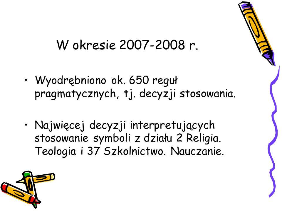W okresie 2007-2008 r. Wyodrębniono ok. 650 reguł pragmatycznych, tj. decyzji stosowania. Najwięcej decyzji interpretujących stosowanie symboli z dzia
