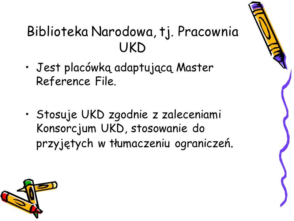 Biblioteka Narodowa, tj. Pracownia UKD Jest placówką adaptującą Master Reference File. Stosuje UKD zgodnie z zaleceniami Konsorcjum UKD, stosowanie do