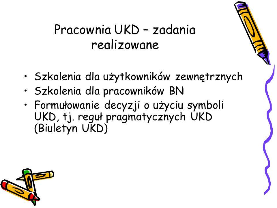 Pracownia UKD – zadania realizowane Szkolenia dla użytkowników zewnętrznych Szkolenia dla pracowników BN Formułowanie decyzji o użyciu symboli UKD, tj