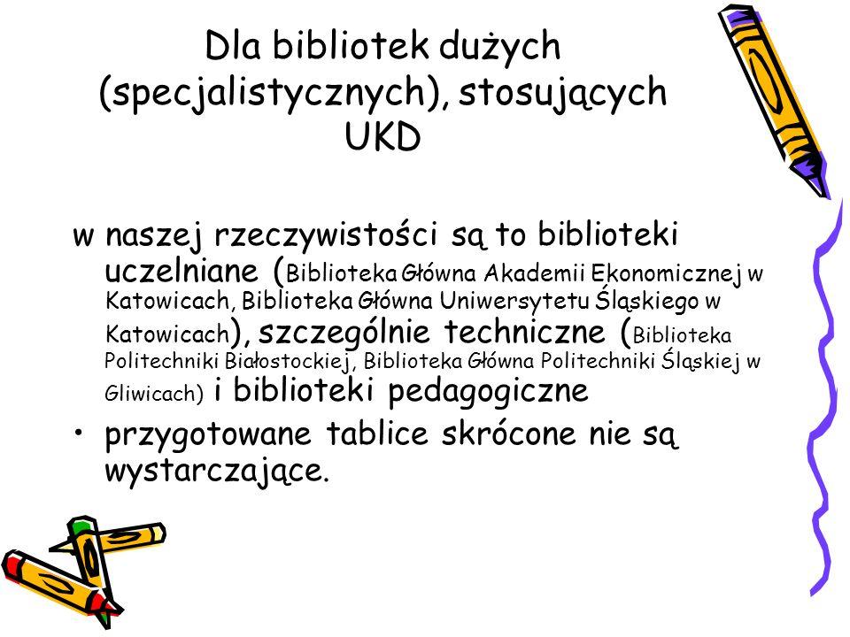 Dla bibliotek dużych (specjalistycznych), stosujących UKD w naszej rzeczywistości są to biblioteki uczelniane ( Biblioteka Główna Akademii Ekonomiczne